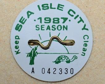 """1987 Canvas Print 14""""x14"""" Sea Isle City Beach Tag"""