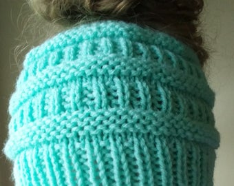 Messy Bun Hat - Ponytail Hat - Messy Bun Beanie - Bun Hat - Knit Bun Beanie - Knit Beanie
