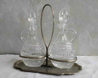 Elegant Vintage French Oil & Vinegar bottles   Silver coloured pewter with pretty glass bottles