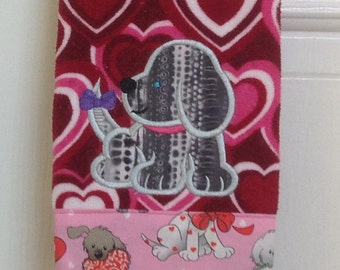 Valentine spotted dog dish towel
