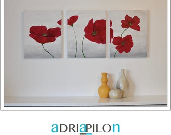 SALE MODERN PAINTING, abstract, red flowers, art 3 canvas