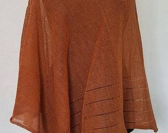 Orange poncho, linen poncho, summer poncho, knit poncho, knit cape, linen cape, orange cape, linen shawl, orange shawl, linen shawl