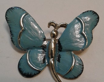 Signed Gerry's Blue Enamel Butterfly Pin