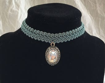 Blue Lace Vintage Inspired Choker with Jewel Pendant