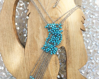 Vintage Blue Beaded Chain and Tassel Necklace