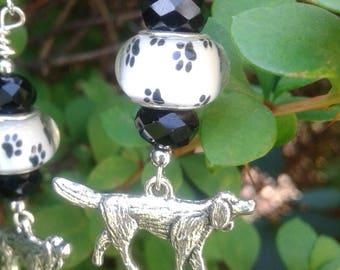 Hunting Dog Murano Bead Earrings with Swarovski Crystals