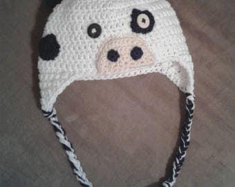 Baby crochet cow hat