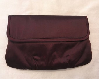 Magid Chocolate Brown Satin Clutch