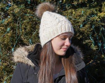 Antler Cabled Beanie // Hand Knit Hat // Handmade Beanie // Knit Cables // Cabled Hat // Women's Cabled Hat // Chunky Knit Beanie // Warm