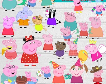 Peppa Pigs ClipArt-Printable.Peppa Pigs ClipArt. Peppa Pigs Birthday Party PNG Images-Digital, instant download
