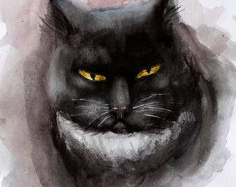 Pet gift, Cat watercolor painting Original, original watercolor cat, animal watercolor, Black Cat lover gift custom pet portrait, custom cat