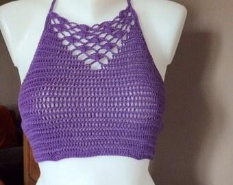 Crocheted top halter, summer top hippie, bikini top