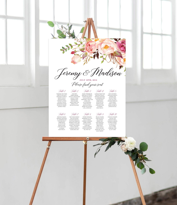 Wedding Seating Chart - Customized Wedding Sign, Bohemian sign ...