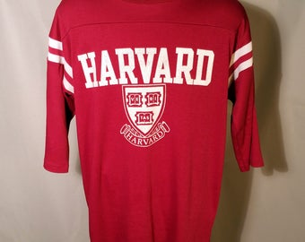 70s HARVARD Maroon White Ringer 3/4 Sleeve Tee Sz Small Medium Ivy League University College Graphic Super Soft Shirt 1970s Retro School