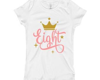 Pink and Gold Birthday Shirt - 8th Birthday Shirt 8 - Eight Birthday Shirt - Pink and Gold Birthday Party - Crown Birthday Shirt for Girls