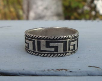 Men's Vintage Sterling Silver Tribal Ring Band