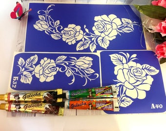 "Stencils for temporary tattoos. ""Roses-3"" set. Glitter tattoo. Adhesive stencils.Body art tattoo /face painting stencils"