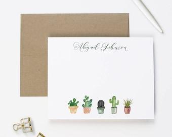 Personalized Stationery Set with Envelopes, Succulent Stationary Set, Monogram Stationary Box Set, Cactus Stationary Card Set | SET OF 10