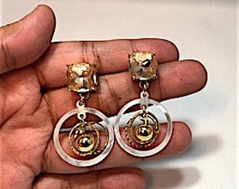 SALE Gold and mother of pearl earrings
