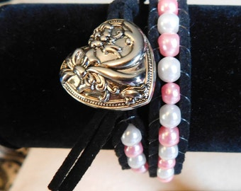 Pink & White Pearl Wrap Bracelet