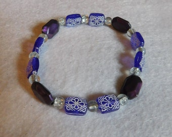 Purple Flower & Clear Bead Bracelet