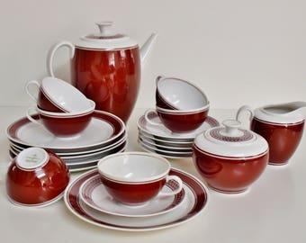 Coffee service Kästner Saxonia porcelain 50s red coffee set 50 s porcellan