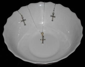 Tiny Silver Cross Jewelry Set,Cross Jewelry Set,Confirmation Gift,Catholic Gift,Communion Gift,Tiny Silver Cross Earrings And Necklace