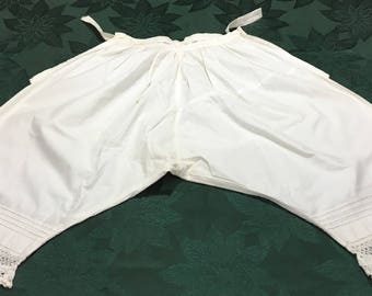 Vintage Victorian Ladies Cotton Bloomers Pantaloons Button Waist Lace Trim