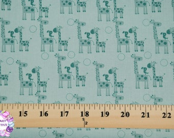 Riley Blake/Giraffe Crossing 2/ Giraffes Teal/ Cotton/Fabrics/ Sewing/ Quilting/ Quilt/