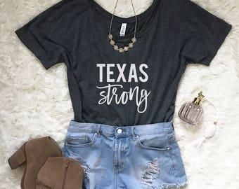 Texas Strong Shirt - Women's Flowy Shirt - Off the Shoulder Top - Women's Texas Shirt - Texas Tee - Texas Pride Shirt - Donation Shirt