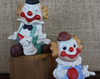 Set of 2 Vintage Clown Figurines