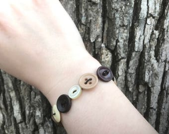 Brown and Cream Stretchy Button Bracelet