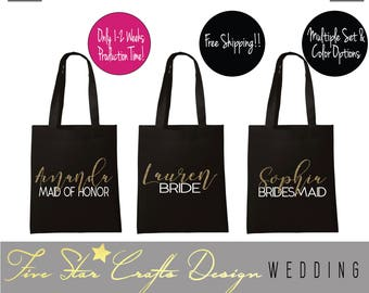 Bridesmaids Tote Bags,Bridesmaids Totes,Maid of Honor Tote,Personalized Totes,Bridal Party Totes,Bridal Tote Bags,Bride Bags