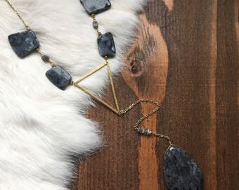Larvikite Hammered Brass Triangle Pendant Y Lariat Necklace