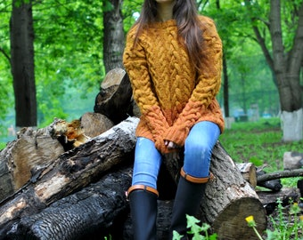 Knitted long tweed sweater handmade