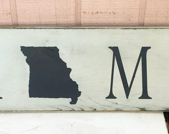 Rustic Home State Sign