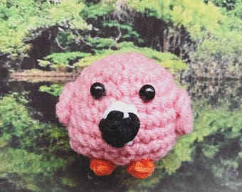 Little Flamingo Amigurumi, crocheted animal, keychain, tropical