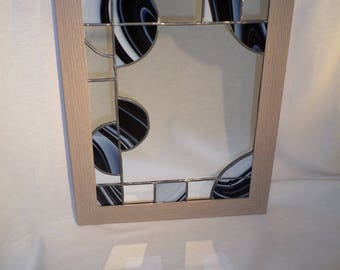"""""""ART DECO"""" stained - glass - black, white mirror"""