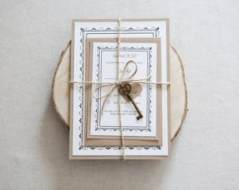 Rustic Key Charm Wedding Invitation // Ornate Frame Detailed Invite // Vintage Wedding Invitation