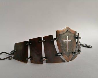 Chainstyle copper shield bracelet, Warrior bracelet, Knights copper bracelet