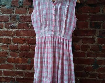 Pink and White Checked 1960's Sleeveless Jumper Dress