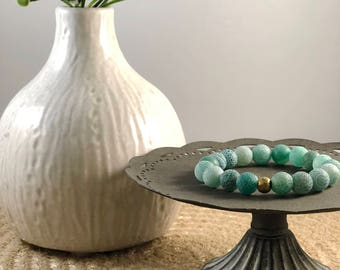 Blue-Green Cracked Frosted Agate Beaded Bracelet, Agate Bracelet, Frosted Agate, Blue Bracelet, Green Bracelet, Elastic Beaded Bracelet