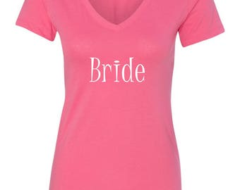 Bride T-Shirt Pink with White Bride design