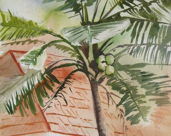 Watercolor art painting of house in Kerala India and landscape, print from a handmade original
