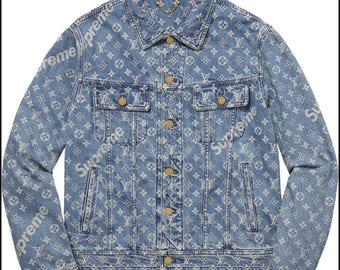 supreme denim jeans, supreme, supreme denim jacket, jean jacket, supreme sweater, supreme denim, Louis Vuitton jacket, supreme LV jacket,