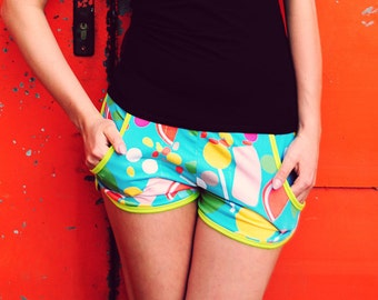 Women Shorts, Low-slung Shorts, Jersey,  Multicolored, Summer Clothing, Summer Fashin Style, Print