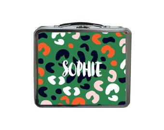 Leopard Lunch Box, Green Lunch Box, METAL Lunch Box, Monogram Lunch Box, Retro Lunch Box, Lunch Box Adult, Reusable Lunch Box, TIN Lunch Box