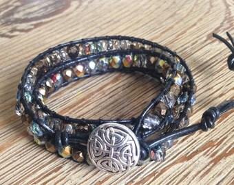 Leather wrap bracelet, wrap bracelet, black leather bracelet, black wrap bracelet, beaded bracelet