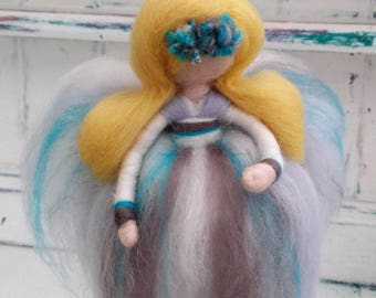 Needle Felted Fairy, Waldorf Inspired, Wool Fairies, White and Silver Angel Ornament, Felted Fairytail Doll, Faerie, Fairie, Fairy