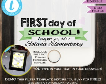 First day of School Snapchat Geofilter- Any Color- Any School Year- Lastday- Personalize Custom- Digital - PNG INSTANT Self-EDITABLE